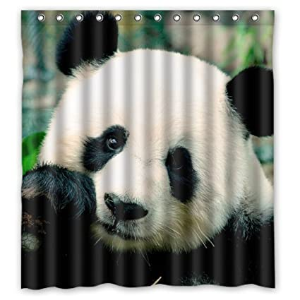 Lawrence Waterproof Shower Curtain With Hooks Cute Panda Bear Funny Animal Design 66x72 Inch