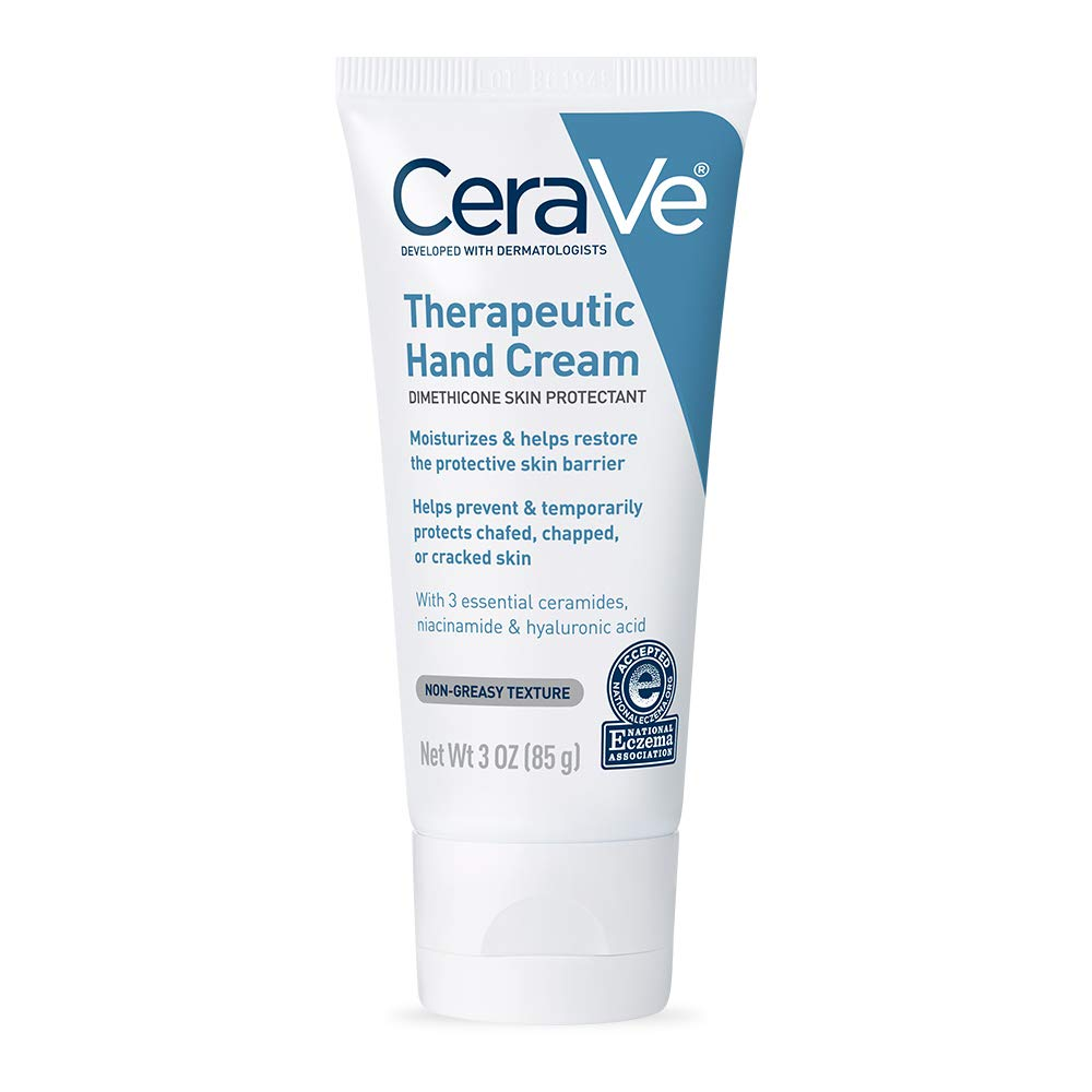 CeraVe Therapeutic Hand Cream for Dry Cracked Hands With Hyaluronic Acid and Niacinamide | Fragrance Free | 3 Ounce