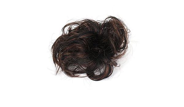 Amazon.com: Banda Damas Corto y rizado peluca Estilo Cola de Caballo de Pelo Negro Color de café: Health & Personal Care