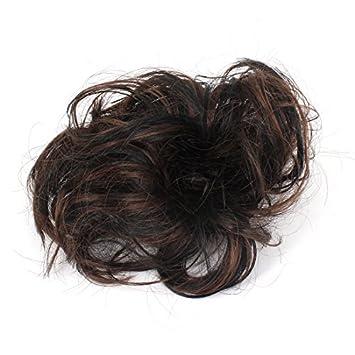 Banda Damas Corto y rizado peluca Estilo Cola de Caballo de Pelo Negro Color de café