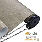 ALLBRIGHT 100% Blackout Manual Roller Shades, UV Protection, Thermal Insulated Blackout Blinds, Waterproof Fabric for Kitchen, 35' Wx 83' H, Mocha