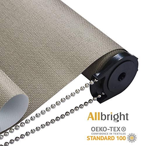 Allbright Bahamas 100% Blackout Manual Roller Shades, Oeko-Tex Standard 100 (Mocha, 23 x 83)