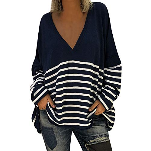 Sweater Pullover Stripe Fall Women's V Long Blouse T Tunic Tops Navy Sleeve XOWRTE Neck Shirt Rwf7qtH