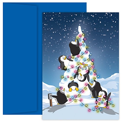 Masterpiece Holiday Collection Petites 18-Count Christmas Cards, Penguin Tree