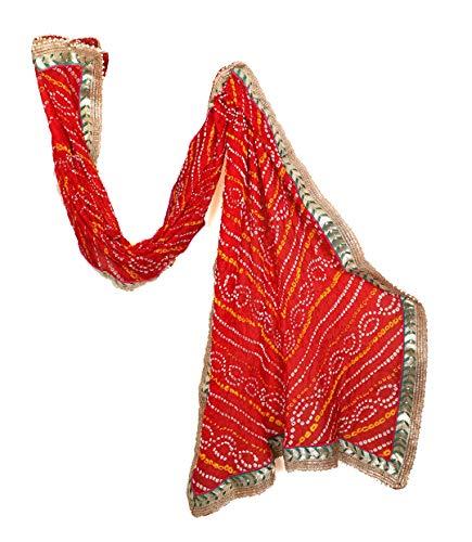 Rajasthani Bandhani Dupatta Women's Tie & Dye Stole long Veil scarves Hijab Sarong Wedding Party Wear