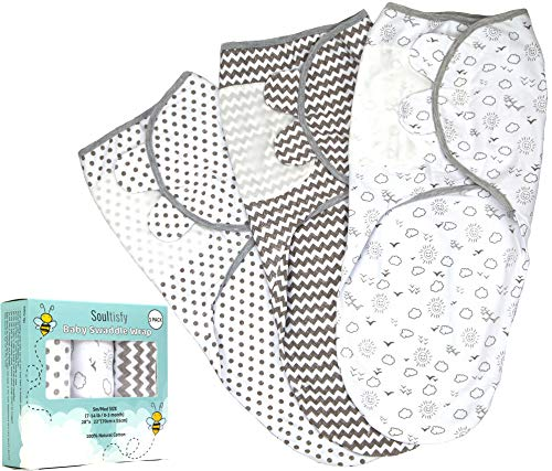 Baby Swaddle Wrap Sack (Set of 3) for Newborn and Baby (0-3 Months) - 100% Breathable Soft Premium Cotton - Gray Unisex Design for Boy & Girl - Adjustable Infant Swaddle Blanket