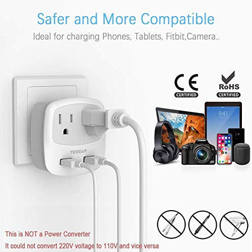 TESSAN 3 to 2 Prong USB Outlet Plug, Japan Power Adapter with 2 Wall Charger Extender Cruise Ship Accessories, Travel Multi Plug Adaptor for US to Japanese, Type A Plug Splitter