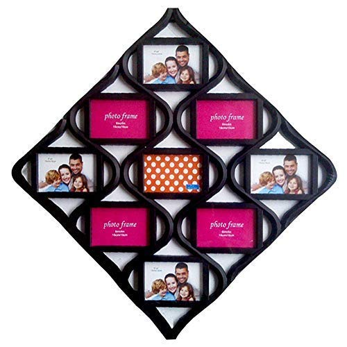 MKUN 4x6 Wall Photo Frame Collage - Diamond Shaped Wall Hanging Picture Frame Collage, 9- Opening (Black) (Diamond Shaped Frame)