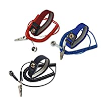 Calunce 2.5M Reusable Anti-Static Wrist Straps equipped with PU Grounding Wire and Alligator Clip Pack of 3