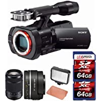 Sony NEX-VG900 Full-Frame Camcorder (Black) + SAL50F18 Sony DT 50mm f/1.8 Lens + Sony 55-300mm f/4.5-5.6 DT Lens + LED + Two 64GB Cards