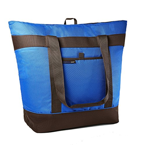 (Rachael Ray Jumbo ChillOut Thermal Tote, XL Insulated Bag for Grocery Shopping /Entertaining, Transport Hot and Cold Food, Blue)
