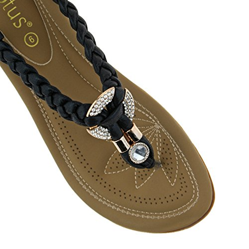 Lotus Ladies Bologna Black Gold Diamante Toe Post Elasticated Sandals 20416-UK 8 (EU 42) Ya1kEiUL