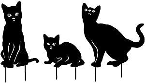 Animal Silhouette Art Craft Metal Garden Silhouette Animal Stake Cat Shape Garden Lawn Decoration Black 3PCS