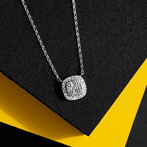 Cushion Shape Pavé Cluster Diamond Necklace, 0.10cts, Sterling Silver (Silver Pave Necklace Diamond)