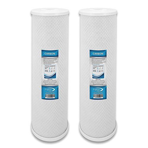 2 Pack Carbon CTO Big Blue Whole House Water Filter with Block Activated Carbon, 20-Inch Coconut
