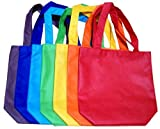 """ColorYourLife 7-Pack Non-woven Reusable Kids Carrying Shopping Grocery Tote Bag for Party Favor in Retail Packaging -10"""" Assorted Colors"""