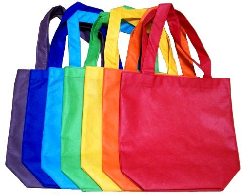ColorYourLife 7-Pack Non-woven Reusable Kids Carrying Shopping Grocery Tote Bag for Party Favor in Retail Packaging -10