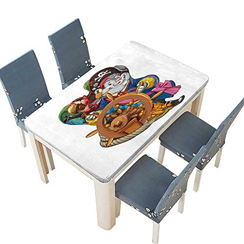 PINAFORE Decorative Tablecloth The Cartoon Hare The Pirate in a Camisole Stands Behind a Ship Steering Wheel with The Assistant for Picnic,Outdoor or Indoor Party use W29.5 x L69 INCH (Elastic Edge)