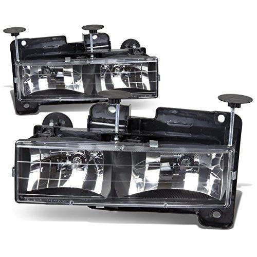 (For Chevy/GMC C/K-Series 4th Gen GMT400 2-PC Lamps Black Housing Headlight/Bumper Lights Kit)