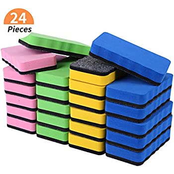 Dry Erase Erasers, 24 Pack Magnetic Whiteboard Eraser Chalkboard Cleansers Wiper for Classroom Office and home (Mixed Colors)