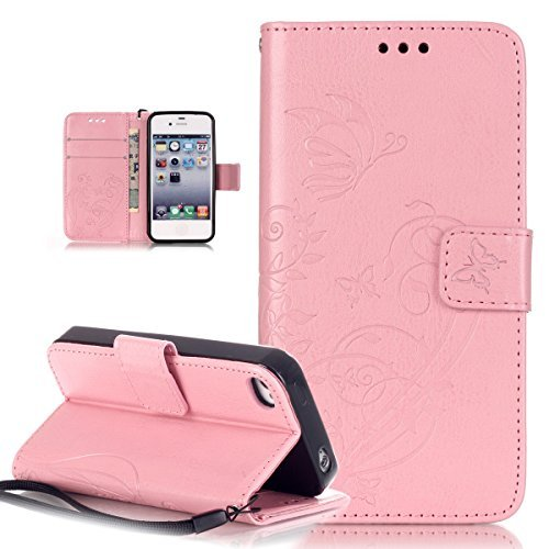 e 4 Case,iPhone 4S/4 Case,ikasus Embossing Flower Vines Butterfly Flip PU Leather Flip Wallet Pouch Stand Credit Card ID Holders Case Cover for Apple iPhone 4S/4,Pink ()