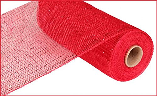 10 Inch x 30 feet Deco Poly Mesh Ribbon - Metallic Red and Red Foil : RE130124