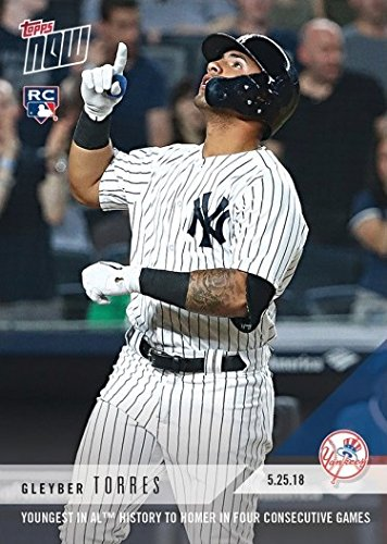 (2018 Topps Now Baseball #247 Gleyber Torres Rookie Card - Youngest in AL History to Homer in Four Straight Games - Only 3,862 made!)