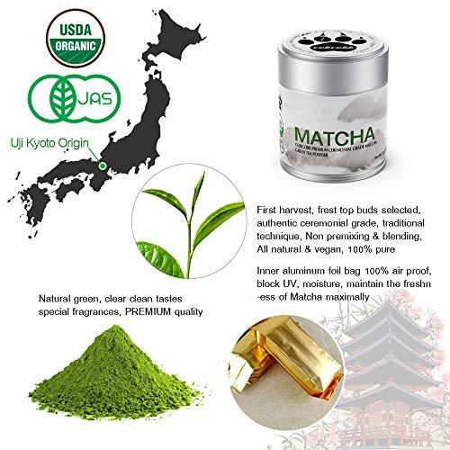 cobcobb 35g Uji Matcha Green Tea Powder, USDA Organic - Authentic Japanese Ceremonial Grade (Premium, Tin)