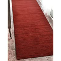 Rugsotic Carpets Hand Knotted Loom Woolen 2 6 x 12 Solid Runner Rug Red L00111