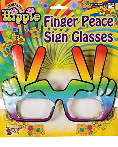 Candy Apple Costumes Hippie Hand Rainbow Peace Sign Glasses