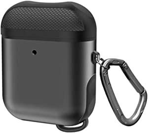 Metal and Silicone Hard Airpods Case for Wireless and Cable Charging Apple Airpods 1 & 2 with Keyring; Rugged, Heavy Duty Double Shockproof Protection; Metallic Airpods Cover, Waterproof