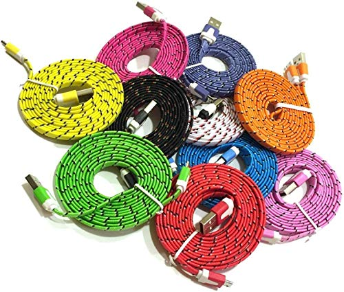 Josi Minea® 9 Pcs Fabric Braided Flat Tangle Free Nylon Premium High Quality Ruggedized Micro USB Rainbow Cables 3 Feet / 1 Meter Charger Sync Data Rapid Charging Cable USB Cord Wire for Samsung Galaxy S3 / S4 / S5 / S2, Samsung Galaxy Note / Note 2 / 3 / 4, Galaxy Tab, Google Nexus 7 / 10, Nokia Lumia, and Most Android Tablets / Android Phones / Windows Phones - 3Ft/1M (9 Pack) (Noodle Cable Micro Usb)