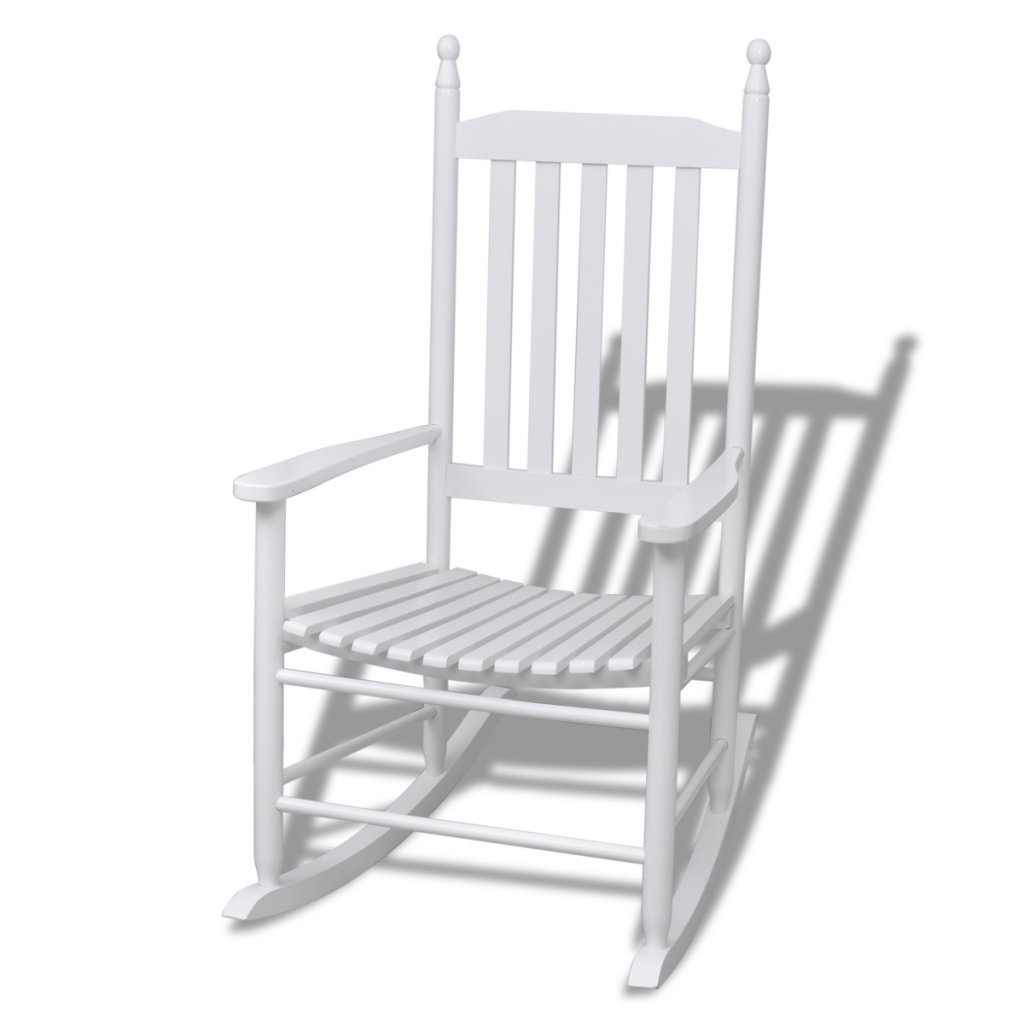 vidaXL Wood Rocking Chair White Curved Slat Seat Armrest Garden Patio Indoor Rocker