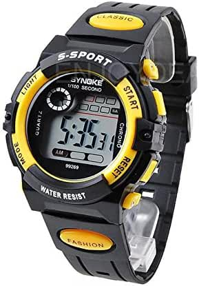 Enjoydeal New Multifunction Large Dial Waterproof Kids Sports Electronic Quartz Watches Watch (Yellow)
