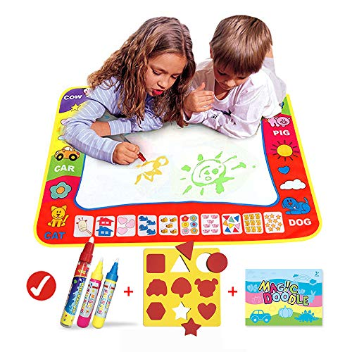 Aqua Magic Doodle Mat/Water Doodle Mats(31.4in x 23.6in)with 4 Color,Reusable Coloring Aqua Classic Mat Drawing Learning Painting Doodle Scribble Mats with Magic Pen for Kids
