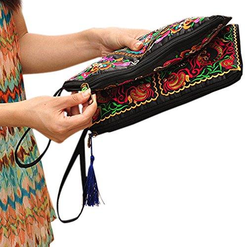 Womens Zipper Blue Bag Black Bluelans Purse Ethnic Handbag Clutch Wallet Retro qwC1wSd
