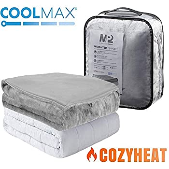 Image of MP2 Weighted Blanket 48 x 72 Inches 15lbs Twin Size with Removable Coolmax Cooling and Warm Cover for Hot and Cold Sleepers Heavy Blanket with Nano - Ceramic Beads Grey MP2 B07V3LZWKB Weighted Blankets