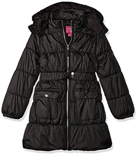 Belted Puffer - Pink Platinum Little Girls' Long Belted Puffer Jacket, Black, 5/6