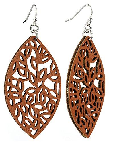 Women's Smooth Faux Leather Almond Shape Dangle Pierced Earrings, Brown Dangling Faux Earrings