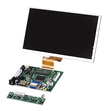 Richer-R Pantalla Multifunción para Raspberry Pi,VGA HDMI 7inch Pantalla de Visualización,Monitor de Computadora,Compatible con DVD Móvil/Marco de ...