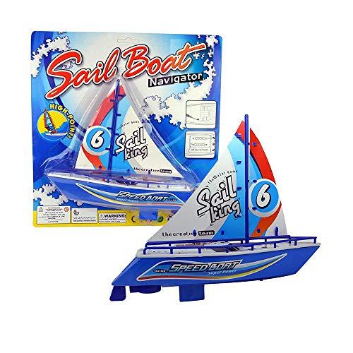 Barco a Cuerda de Juguete para Bañera. Color Azul.