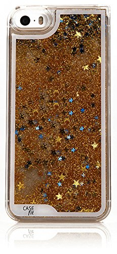 iPhone6 Aqua Sparkling Star Case, Apple iPhone 6 Hard Cover - Retail Packaging (Gold Star)