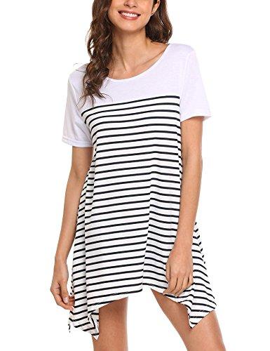 5af6b8e5f43002 Chigant Damen Gestreift Jerseykleid Oversize Longshirt mit Rundhals  Asymmetrischem Saum  Amazon.de  Bekleidung