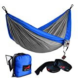 HONEST OUTFITTERS Single Camping Hammock with Basic Hammock Tree Straps,Portable Parachute Nylon Hammock for Backpacking Travel Royal/Grey 55