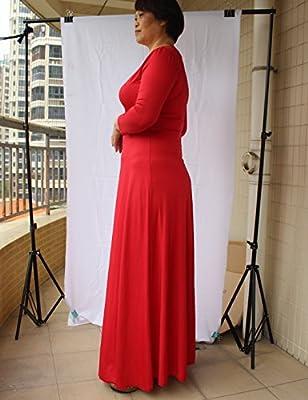 Sanch Ancha Women's Deep V Neck 3/4 Sleeve Polyester Maxi Dress