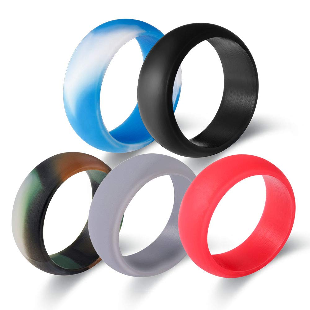 Ever Store Silicon Wedding Ring 5 Pack Premium Medical Grade Silicon Wedding Band Comfortable Light Weight Skin Safe Rubber Wedding Ring Men Sports Outdoors—9mm Wide