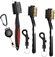 3 Pieces Golf Club Brushes Groove Cleaners, SENHAI Metal and PP Bristles Spike Cleaning Tool, with 2 Ft Retrac