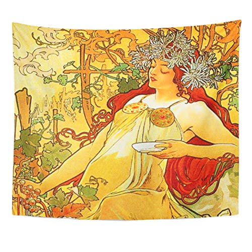 Semtomn Tapestry Artwork Wall Hanging Vintage Alphonse Mucha Autumn Paris Fall Nouveau Vineyard Flirt 50x60 Inches Home Decor Tapestries Mattress Tablecloth Curtain Print]()