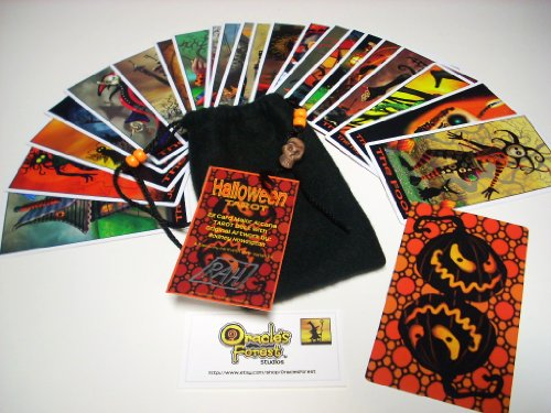 Halloween Tarot Cards - 22 Card Major Arcana Deck (With Handmade Tarot bag) (Halloween ()
