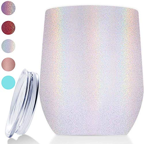 Vantic Wine Tumbler 12 oz Stainless Steel Stemless Rainbow Glass, | | Double Wall Vacuum Insulated Perfect for Home Outdoor, White